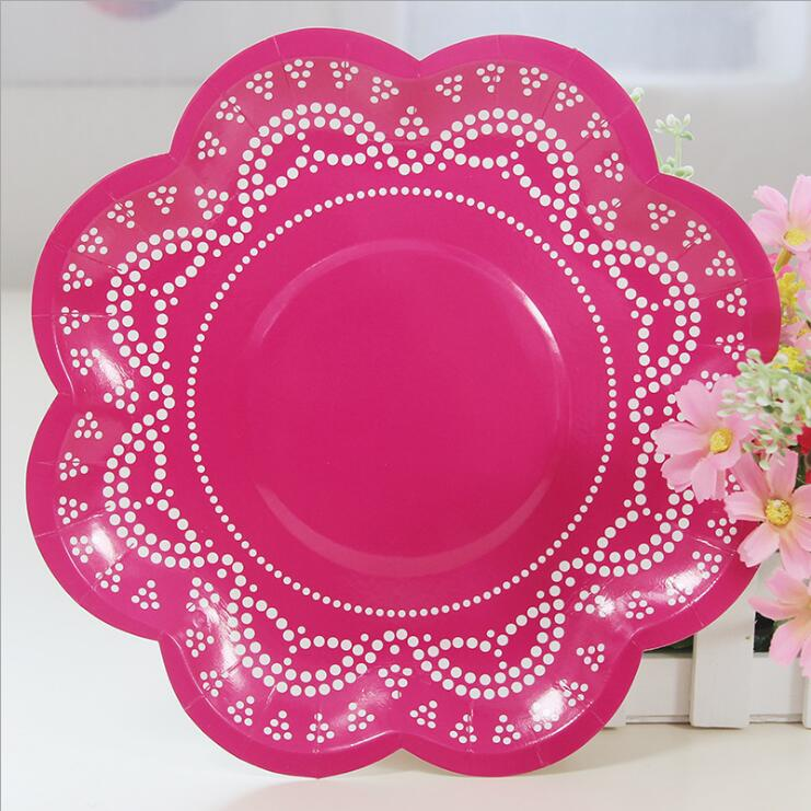 12pcs Lace Flower shaped Paper Disposable Plates Wedding Supplies Candy Color Party Decoration Accessories-in Disposable Party Tableware from Home \u0026 Garden ...  sc 1 st  AliExpress.com & 12pcs Lace Flower shaped Paper Disposable Plates Wedding Supplies ...