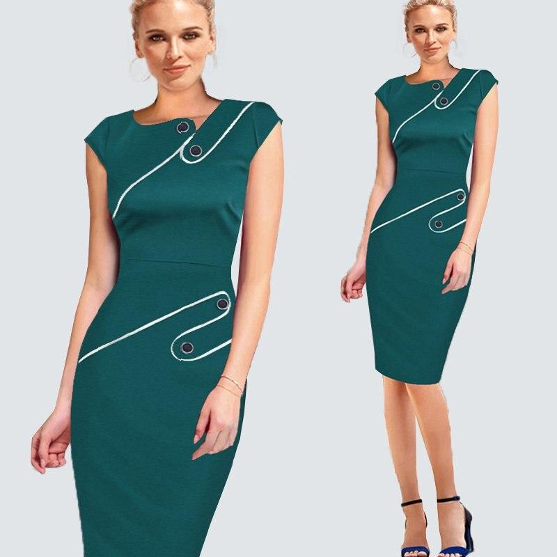 Элегантное платье размера плюс для работы, женское офисное платье в деловом стиле, Повседневная Туника, облегающее платье-футляр, облегающее официальное платье-карандаш, B63 B231 - Цвет: Turquoise Sleeveless