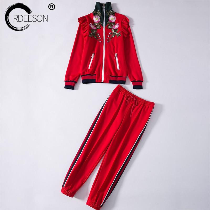ORDEESON 2 deux pièces ensembles 2017 fleurs broderie Runaway femmes chandails Cardigan pull tricoté pull col roulé Long pantalon