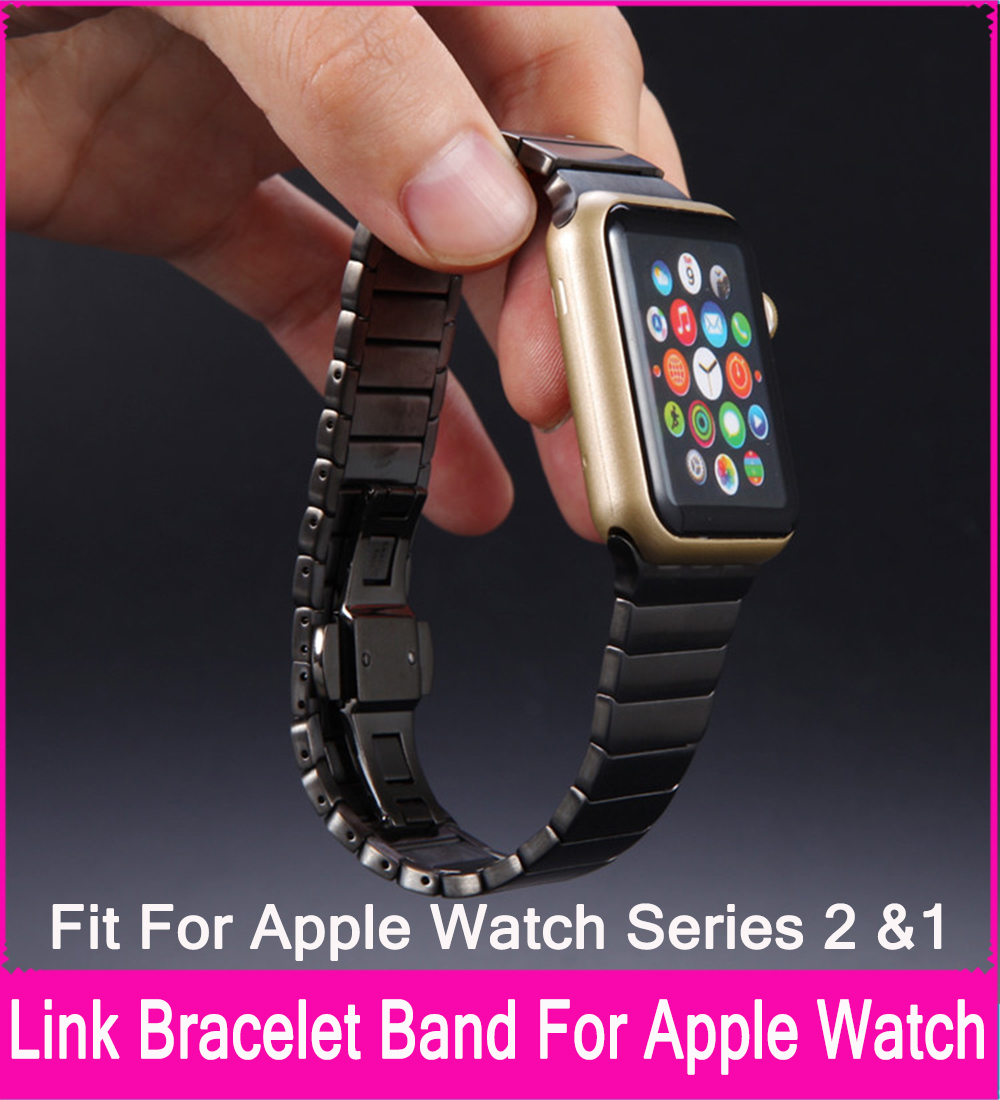 TOP Quality Stainless Steel Link Bracelet Bands For Apple Watch Series 3 2 1 42mm 38mm Black Silver Colors Are Available durable quality stainless steel silver black blade and drive socket combo kit for vitamix blender parts