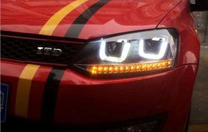 Image 1 - Чехол для стайлинга автомобиля, 2 шт., для фар Polo, 2011, 2012, 2013, 2014, 2015, светодиодный задний фонарь для polo, ДХО, линзы с двойным лучом, HID Xenon