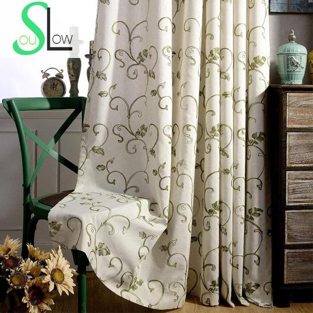 € 12.55 40% de réduction Lent Soul gris vert herbe lin rideau tissu Floral  brodé rideaux pour salon Cortinas cuisine chambre fenêtre bébé dans ...