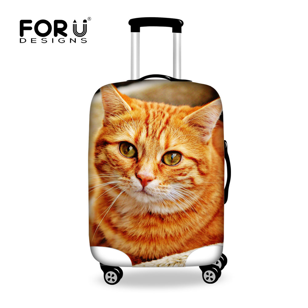 FORUDESIGNS Cute Cat Luggage Protective Cover For 18-30 Inch Case Elastic Travel Suitcase Carrier Bag Waterproof Cover Anti-Dust