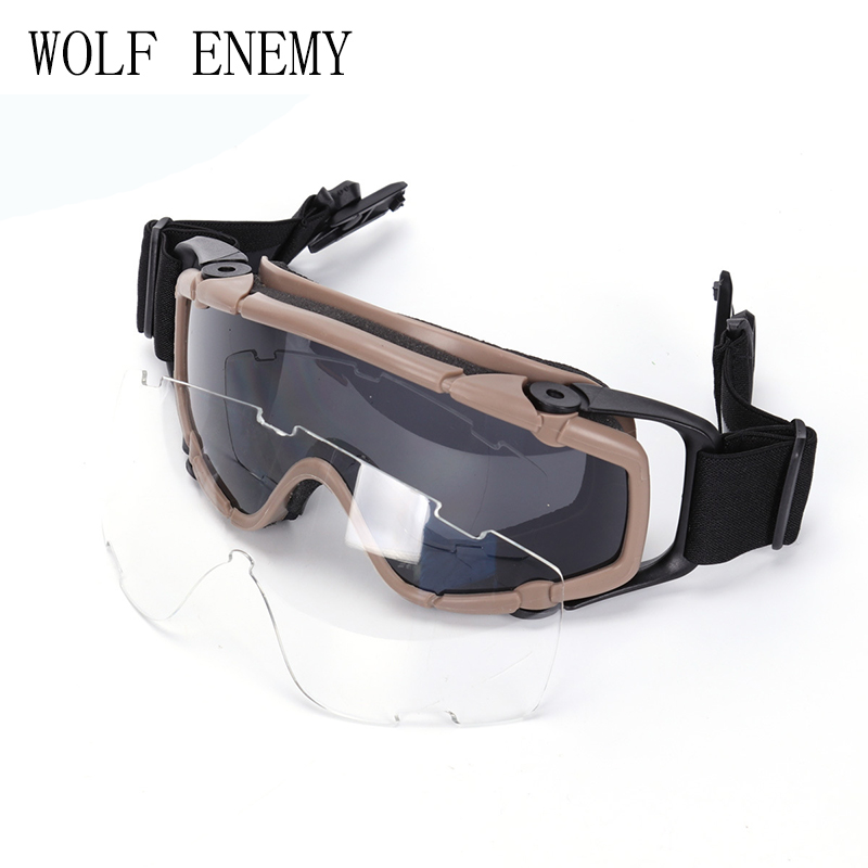 76458ad4ff11f Tático Paintball Airsoft Óculos anti nevoeiro Ballistic Óculos De Proteção  Para Capacete TAN PRETO