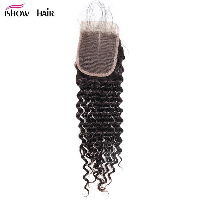 Ishow Hair Brazilian Deep Wave Closure With Baby Hair 4