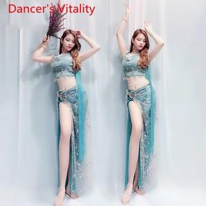 Image 4 - Bell Danceชุด + กระโปรง 2Pcsเสื้อผ้าสีลูกปัดปักไหล่Fairyเสื้อผ้าเครื่องแต่งกาย 4 สไตล์Belly Danceชุด