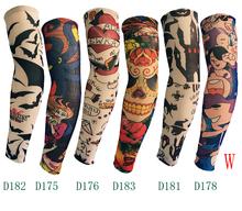 50 pcs / lot New 200 kinds of styles Nylon Stretchy Fake Tattoo anti-UV basketball sports Arm Sleeves warmer manguito Stockings