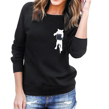 Hxroolrp Women Plus Size Solid Long Sleeve Hooded O-neck Cat Print Loose Blouse