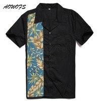 AOWOFS Mens Camicie Hawaiane Nero Grande e Grosso Abbigliamento Uomo Manica corta Grande Pannello Fiori Casuali Camicie Plus Size Retro stile