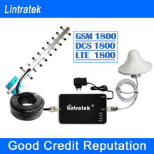 Lintratek GSM Repeater 1800 Yagi Antenna 4G LTE 1800MHz Cell Phone Signal Repeater Booster 1800 MHz GSM LTE Signal Full Kit F10