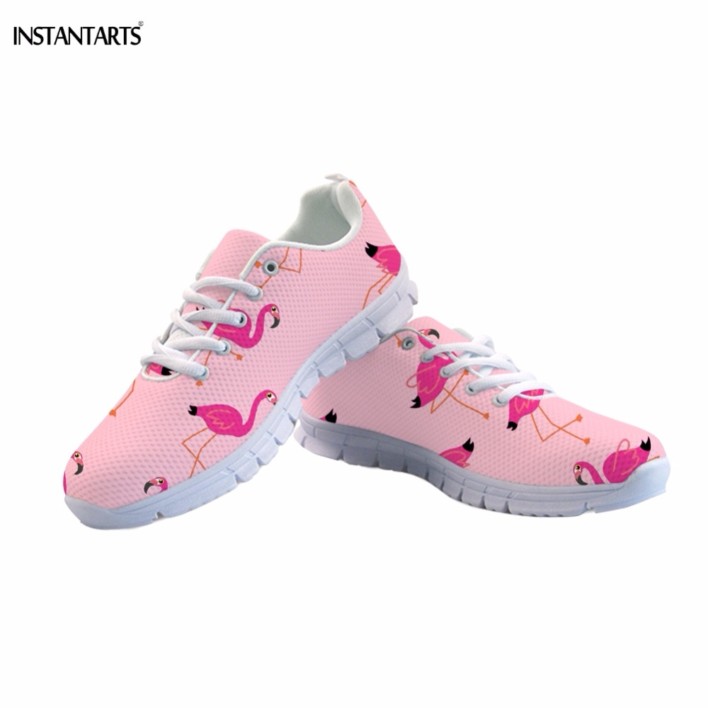 INSTANTARTS Fashion Pink/White Woman Lace-up Sneakers Cute Cartoon Flamingos Print Girl Summer Mesh Flats Shoes Breathable Flat