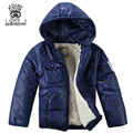 XIAOYOUYU Size 100-120 Little Boy Winter Jacket With Cotton-Padded Hooded Collar Kids Coat Top Quality Thicken Children Outwear