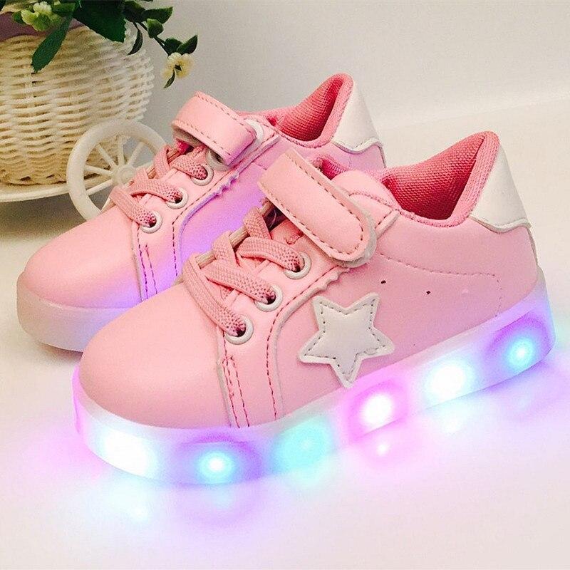 1ad95055 Zapatos de luz LED de 2018 a la moda de 1 a 6 años de edad, zapatos  deportivos casuales para bebés y niñas, zapatos para niños recién nacidos  los niños ...