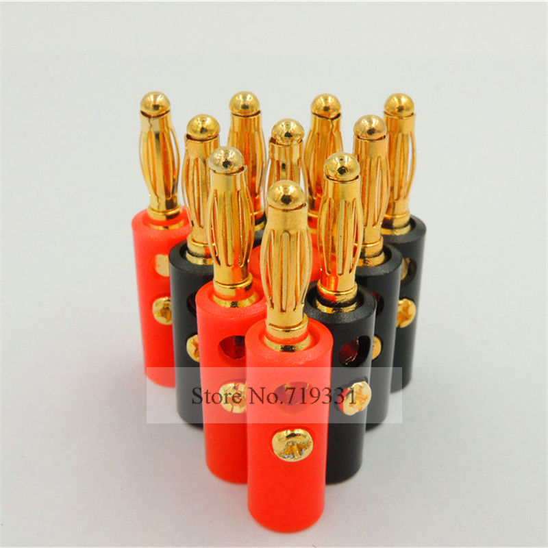 100pcs High quality 4mm Banana Plug Gold Plated Red + Black Lenth 40mm jtron m4 x 16 gold plated hexagon socket speakers screws red gold 4 pcs