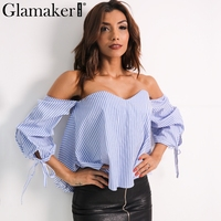 Glamaker Sexy Plaid Off Shoulder Blouse Shirt Spring Striped Backless Women Tops Slim Elegant Beach Blouse