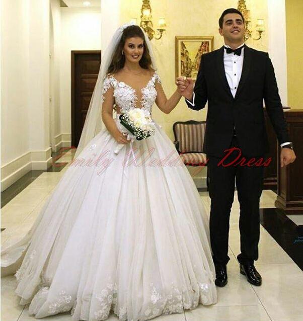 2017 Middle East Style Princess Wedding Dresses Jewel Neck 3D ...