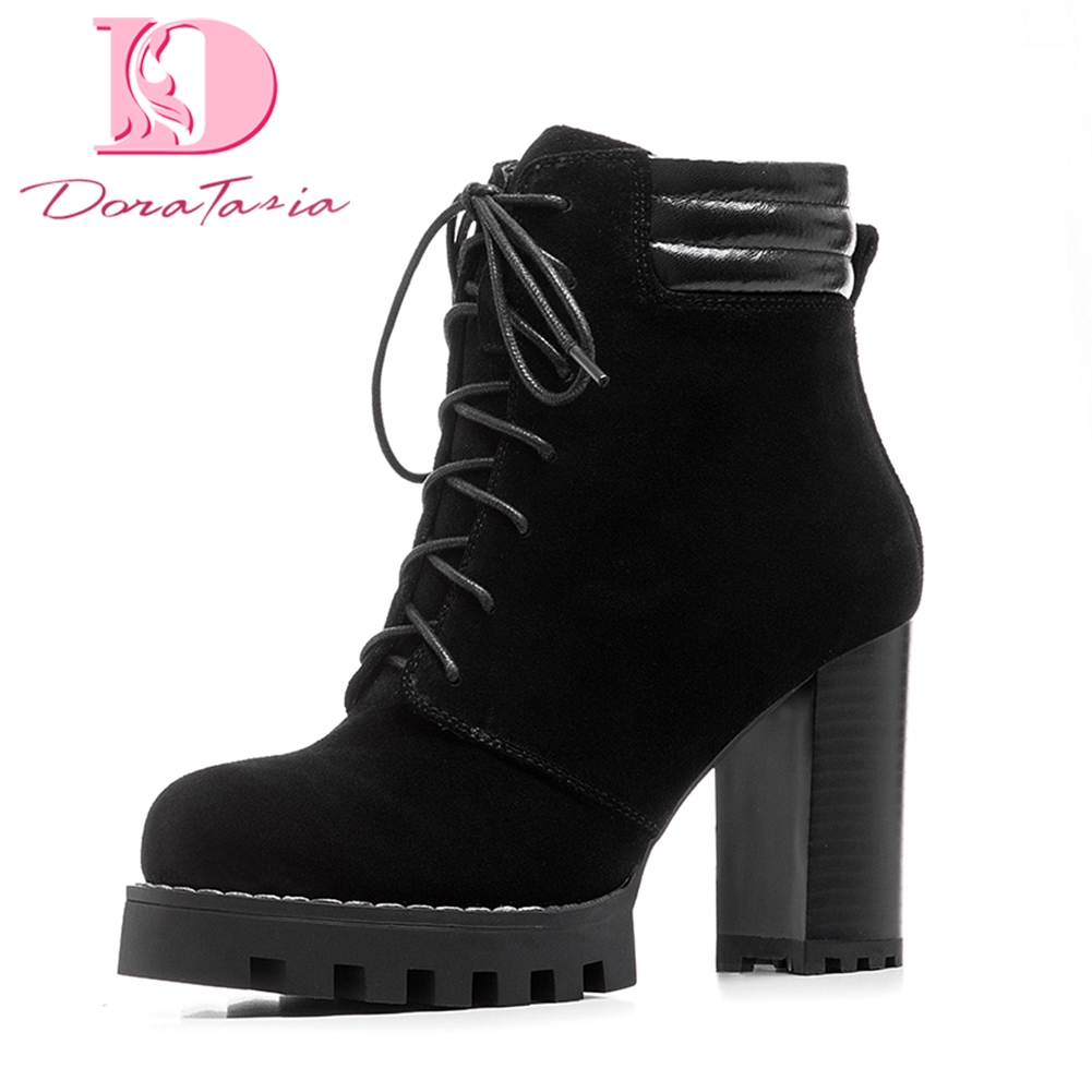 цены DoraTasia big size 35-41 super high heels women shoes woman platform genuine leather cow suede ankle boots party women boots