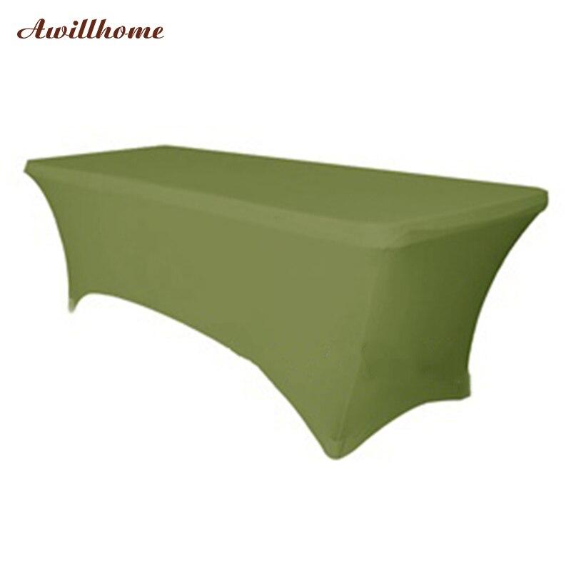 Darmowa Wysyłka 20 sztuk 6 ft. will zielone ubrania na ślub obrus stół prostokąt Stretch Tabeli pokrywy boże narodzenie tabeli ściereczki