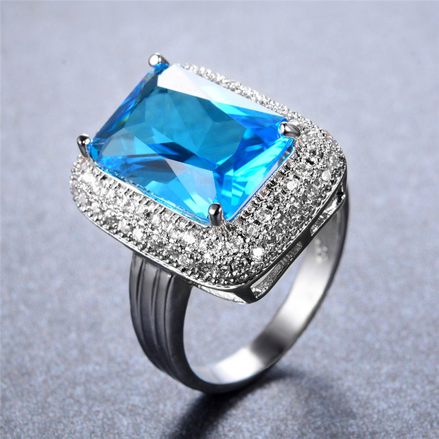 Awesome Big Rectangle Light Blue Stone Rings For Women Wedding Jewelry 925 Sterling  Silver White Gold Filled Nice Ideas