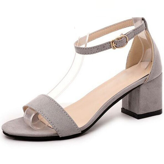 Women's shoes, Europe and America, new style, square head, thick heel, real leather, sandals, one word buckle, middle heel, large size shoes