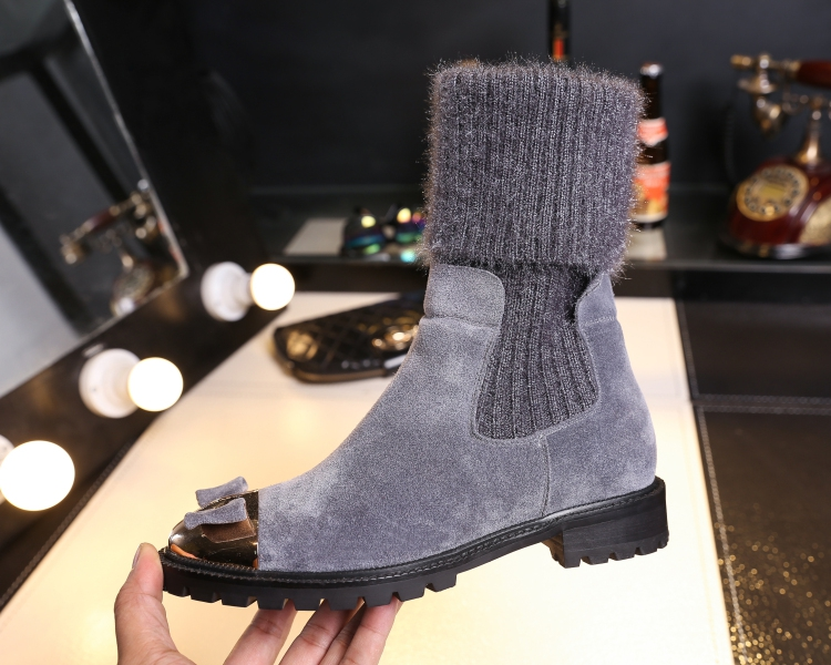 Trendy Woman Boots Metal Round Toe Mid-Calf Boots Bow Tie Decor Sock Boots Cow Suede Short Booties Brand Star Runway Shoes Woman hot woman flats metal animal decor woman shoes pearl embellished woman loafers bow tie women shoes brand runway super star shoes