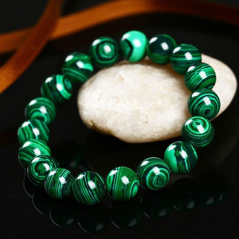 Higth Quality Fashion Green Malachite Men Bracelets&Bangle for Women Crystal Charm Bracelet Buddhist beads Birthday Gift