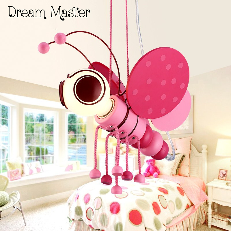 The latest cartoon small bee chandelier Princess Room girls bedroom creative personality lovely LED children Chandelier 2017 lamparas modern children bedroom led chandelier cartoon little bee girls and boys study glass light fixture free shipping