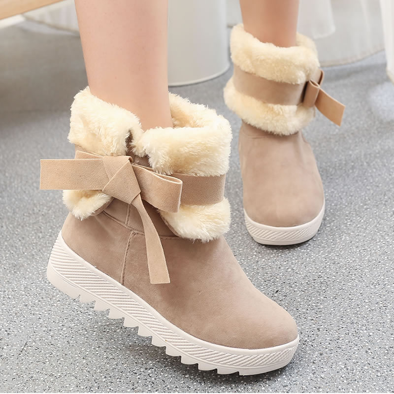 Fashion Winter Leather Women Snow Boots Sweet Girl Bow Balls Flat Heels Round Toe Warm Fur Mid-calf Boots zapato mujer S-6091501 only true love new arrival genuine leather women fashion flat heels equestrian snow boots round toe women boots