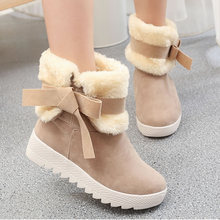 Fashion Winter Leather Women Snow Boots Sweet Girl Bow Balls Flat Heels Round Toe Warm Fur Mid-calf Boots zapato mujer S-6091501