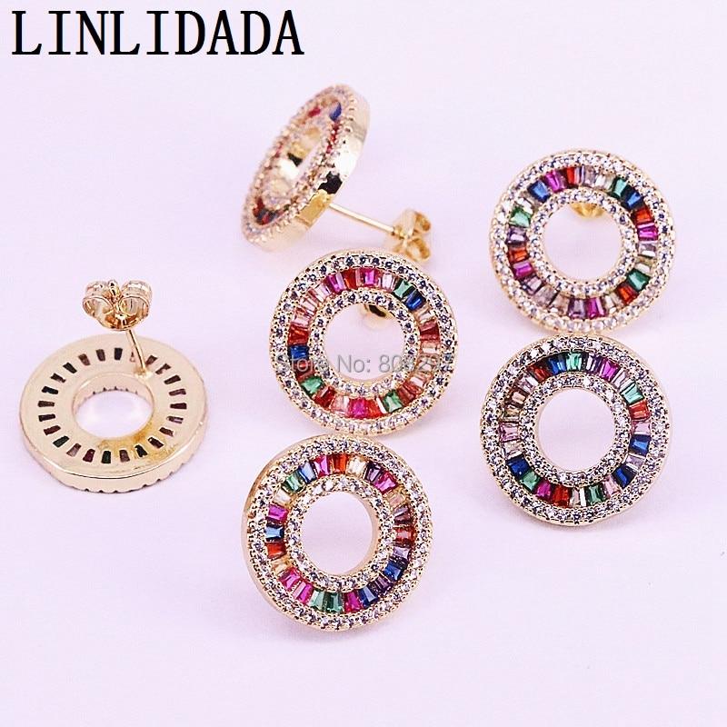 6Pair Popular CZ Earrings Multicolor Rainbow zircon circle Stud Earrings for Women girls delicate wedding party