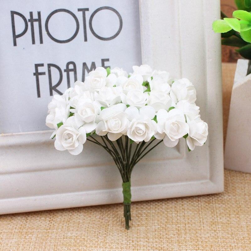 APRICOT 12 stücke//bündel 1 cm Kopf Multicolor Künstliche Papier Blumen Rose für Dekorative Geschenk Hochzeit box Dekoration