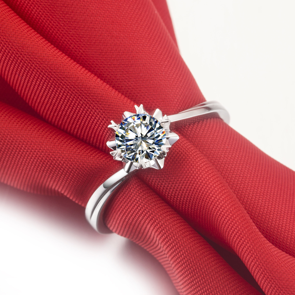 Snow Flake Style Real 0.5 carat Moissanite Engagement Ring Pure ...