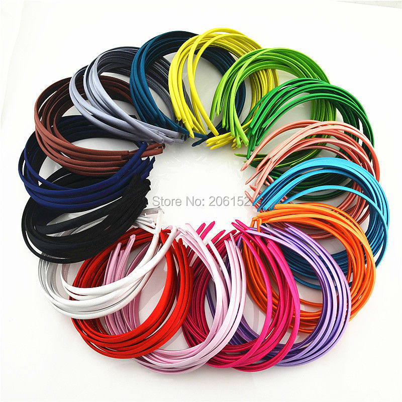 500 Pieces Free Shipping By EXPRESS Wholesale 30 Colors Satin Fabric Covered Headband 10 mm Headwear