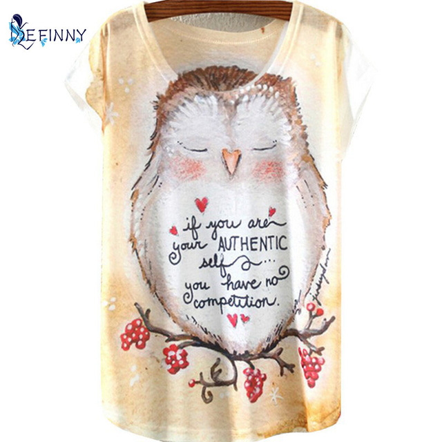 Retro Shirts Short Sleeve Cartoon 3D Cartoon Printed Tops Cotton Owl Tee