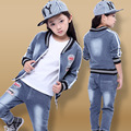 2 piece suit!2016 New Autumn Style Children's Denim coat+jeans Suits big virgin girls casual letter labeling Clothing Wholesale