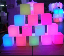 Christmas wedding decoration Rechargeable RGB Led Cube Stool/Bar Table Nightclub Bar Furniture 10cm(China)