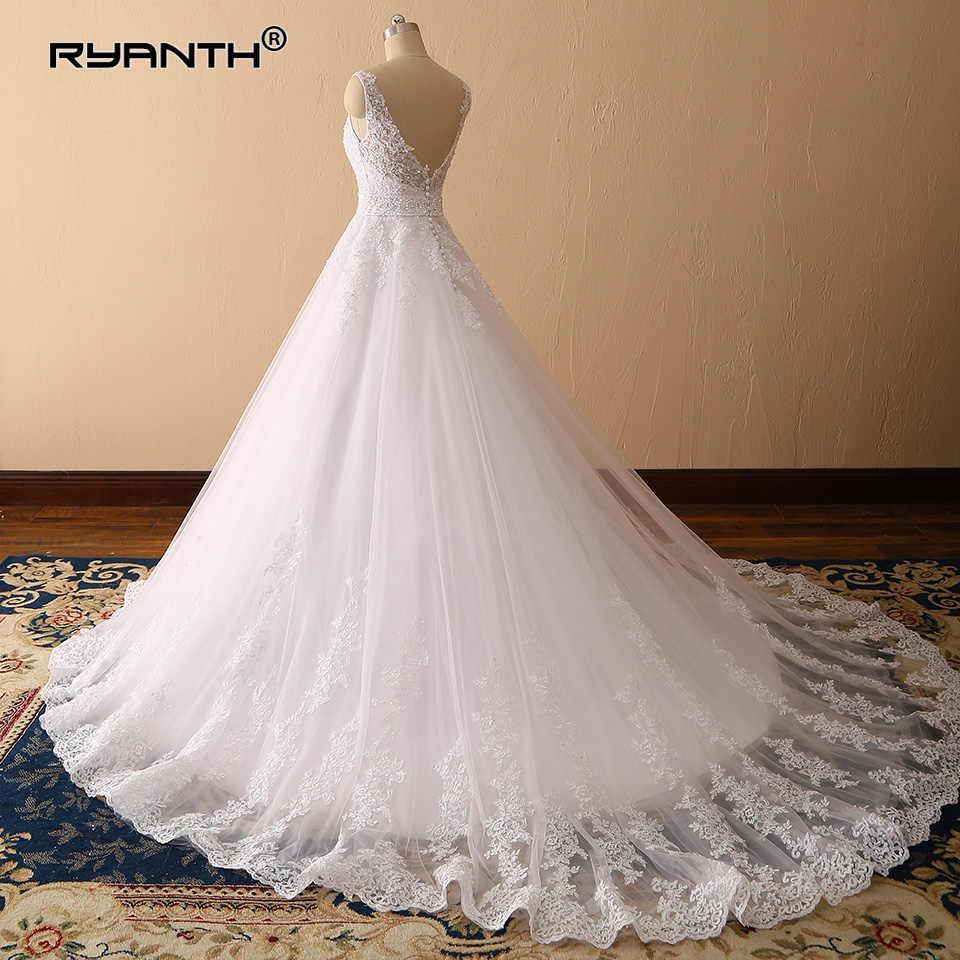 Vestidos de Novia 2019 Sexy Spaghetti Strap V Neck Ball Gown Wedding Dress Luxury Princess Lace Robe de mariage Custom Made