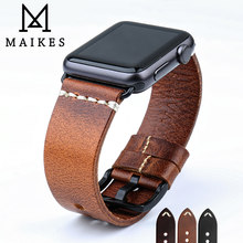 MAIKES Vintage Oil Wax Leather Watch Strap For Apple Watch Band 44mm 40mm 42mm 38mm Series SE/6/5/4/3/2/1 iWatch Watch Bracelet
