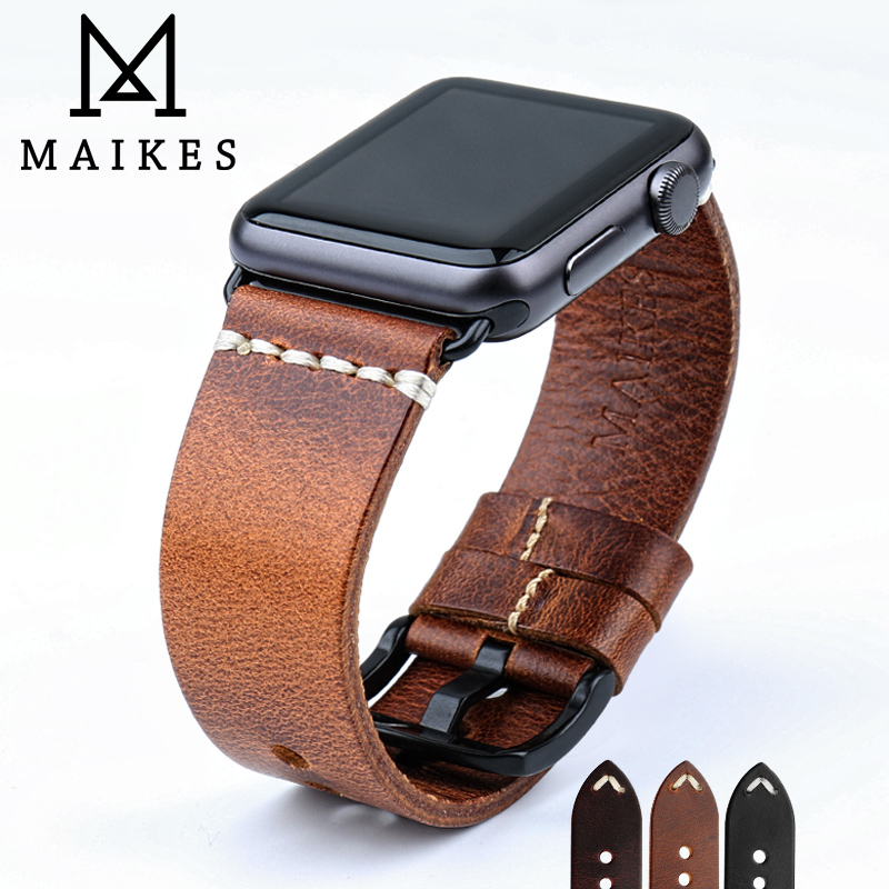 MAIKES Vintage huile cire cuir Bracelet de montre pour Apple Bracelet de montre 44mm 40mm 42mm 38mm série 4/3/2 iWatch montre Bracelet Bracelet de montrestrap for apple watchwatch strapleather watch strap -