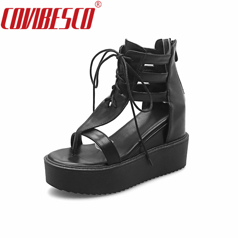 COVIBESCO Sexy Women Comfortable Wedges Heels Sandals White Black Summer Shoes Woman Fashion Gladiator Sandals Fashion Shoes phyanic 2017 gladiator sandals gold silver shoes woman summer platform wedges glitters creepers casual women shoes phy3323