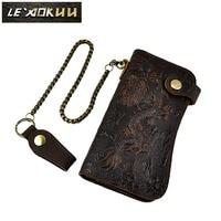Quality Cattle Male Organizal Genuine Leather Dargon Tiger Emboss Checkbook Iron Chain Wallet Purse Clutch Handbag