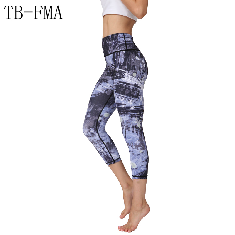 Printed Yoga Pants Women Top Quality High Elastic Waist Thick Material Exercise Fitness Running Tights Push Hips Compression