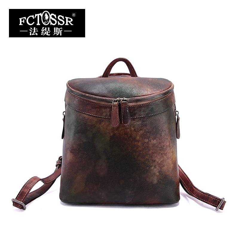 2019 Men Women Vintage Genuine Leather Leisure Backpack Female Multi-functional Cow Leather Bucket Back Pack Top Handle Bag
