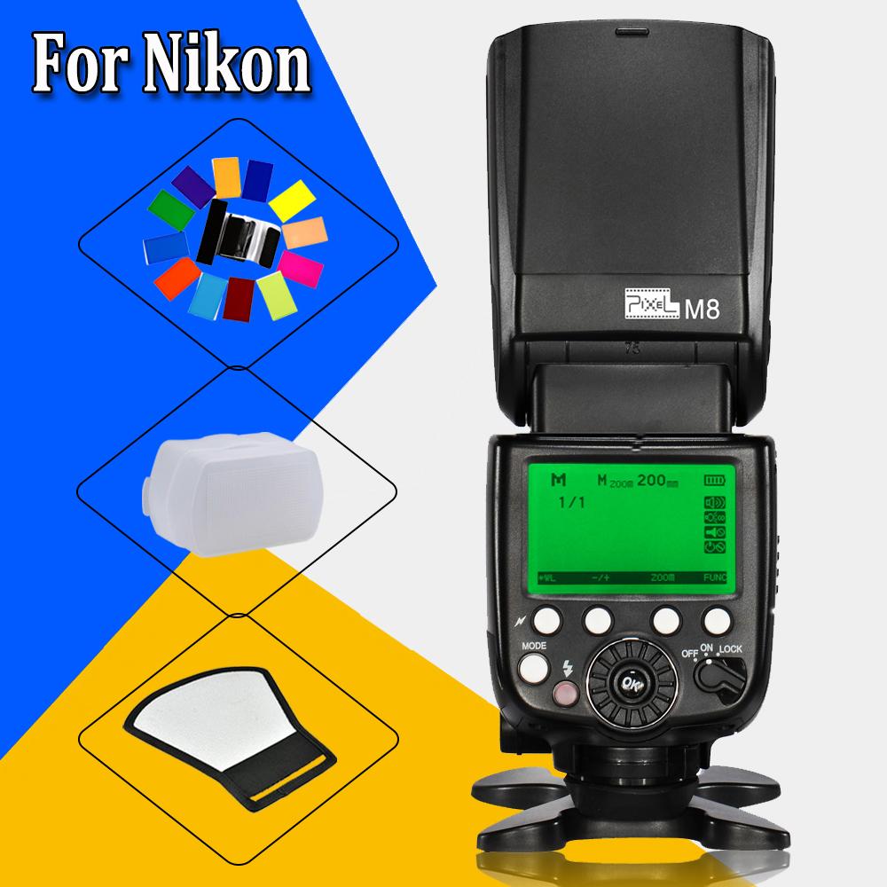 For Nikon D7200 D300s D300 D200 D5100 D3000 DSLR Camera Pixel High Performance M8 LCD M/MUL Wireless Flash Speedlite FlashLight pixle vertax d14 battery grip as mb d14 for nikon dslr d600 d610 camera
