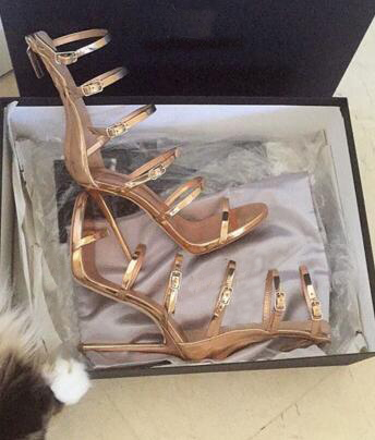 Summer new fashion buckle strap gladiator sandal sexy open toe thin heels sandal gold metallic leather
