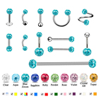Showlove 1pc Epoxy Crystal Ferido Ear Helix Tragus Cartilage Labret Tongue Industrial Nipple Barbell Piercing Jewelry