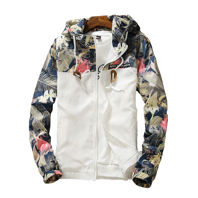 Floral Printed Slim Fit Spring Bomber Jacket Men Casual Windbreaker Hooded Lightweight Youths Male Mens Jacket Coat