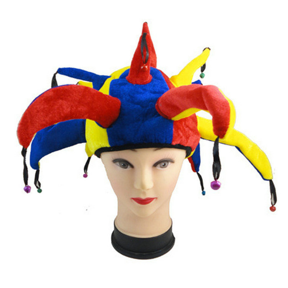 Funny Halloween Masquerade Colorful Decoration Cosplay Clown Hat +Red Nose Adult Child Carnival Clown Costume