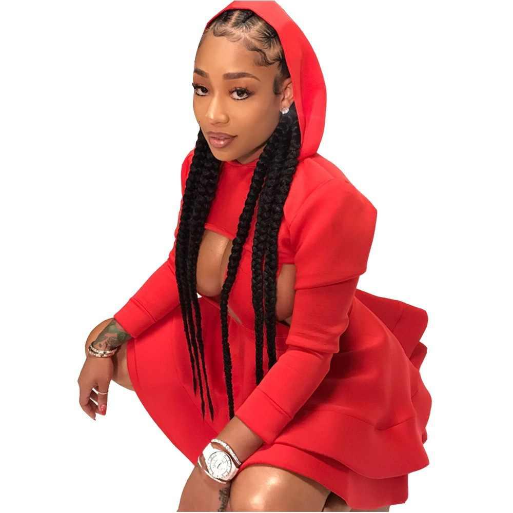 2018 phụ nữ Châu Phi của mặc cao chất lượng cao thiết kế ban nhạc váy áo đầy đủ tay áo mini sexy dress rắn trùm đầu màu đỏ giản dị mặc B9032
