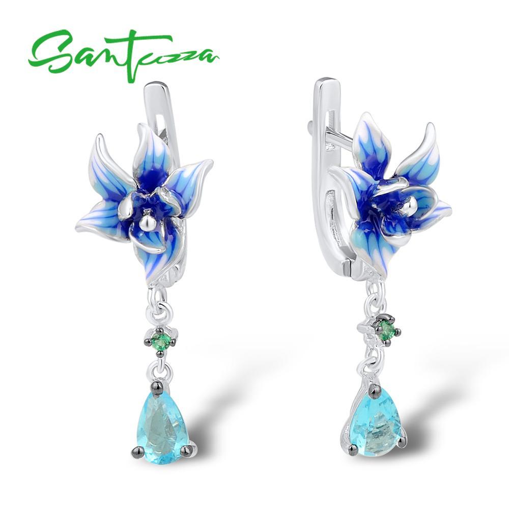 SANTUZZA Silver Flower Earrings For Women 925 Sterling Silver Dangle Earrings Long Silver 925 Cubic Zirconia